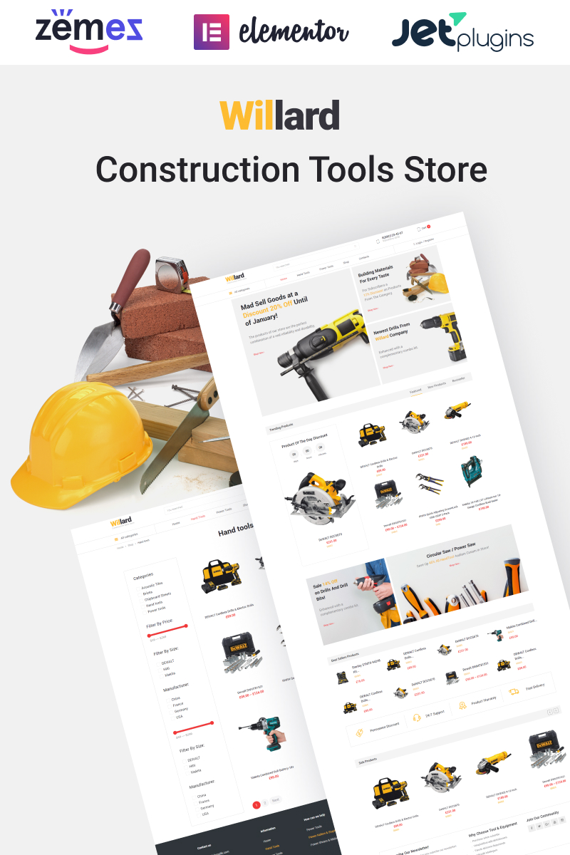 "Modello WooCommerce Responsive #58679 ""Willard - Construction Tools Store Multipurpose ECommerce Clean Elementor"""