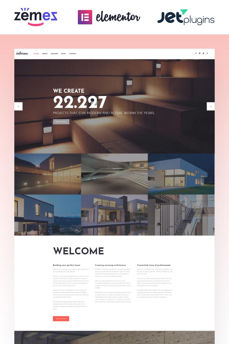 "Modello WordPress Responsive #58640 ""Interna - Exterior Design Template with Elementor Builder"""