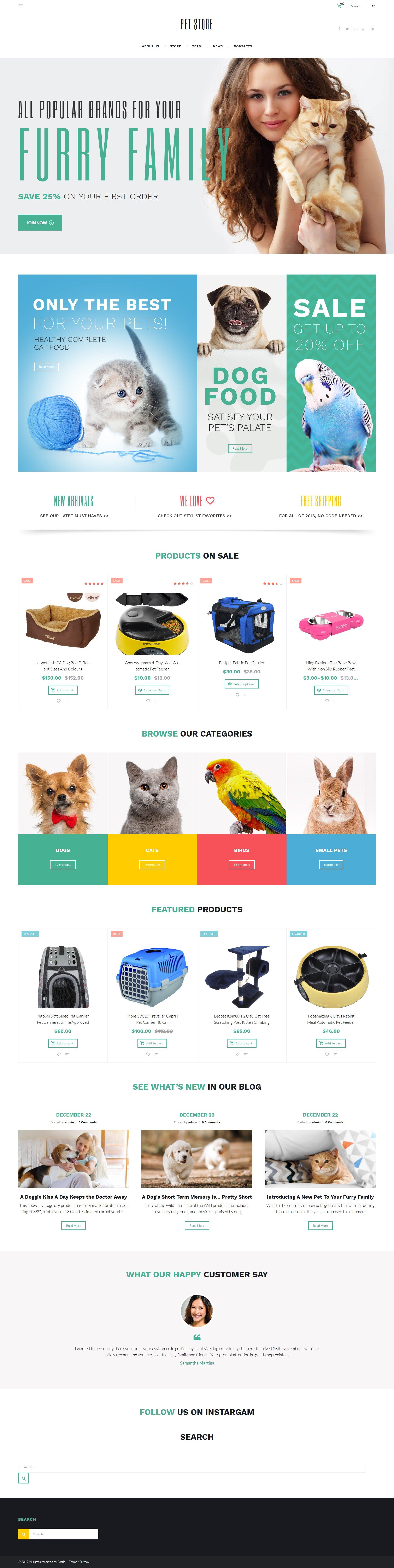 """PetStore - Pets Supplies Shop Responsive WooCommerce Theme"" - адаптивний WooCommerce шаблон №58660 - скріншот"