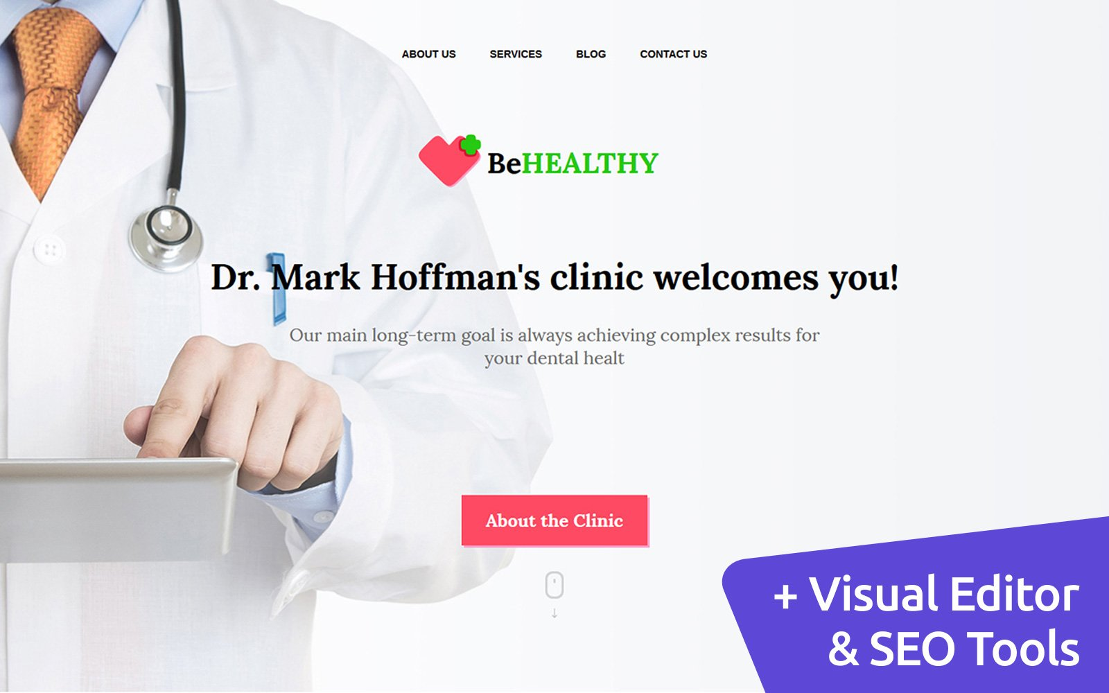 "Plantilla Moto CMS 3 ""BeHealthy - Private Clinics"" #58682"