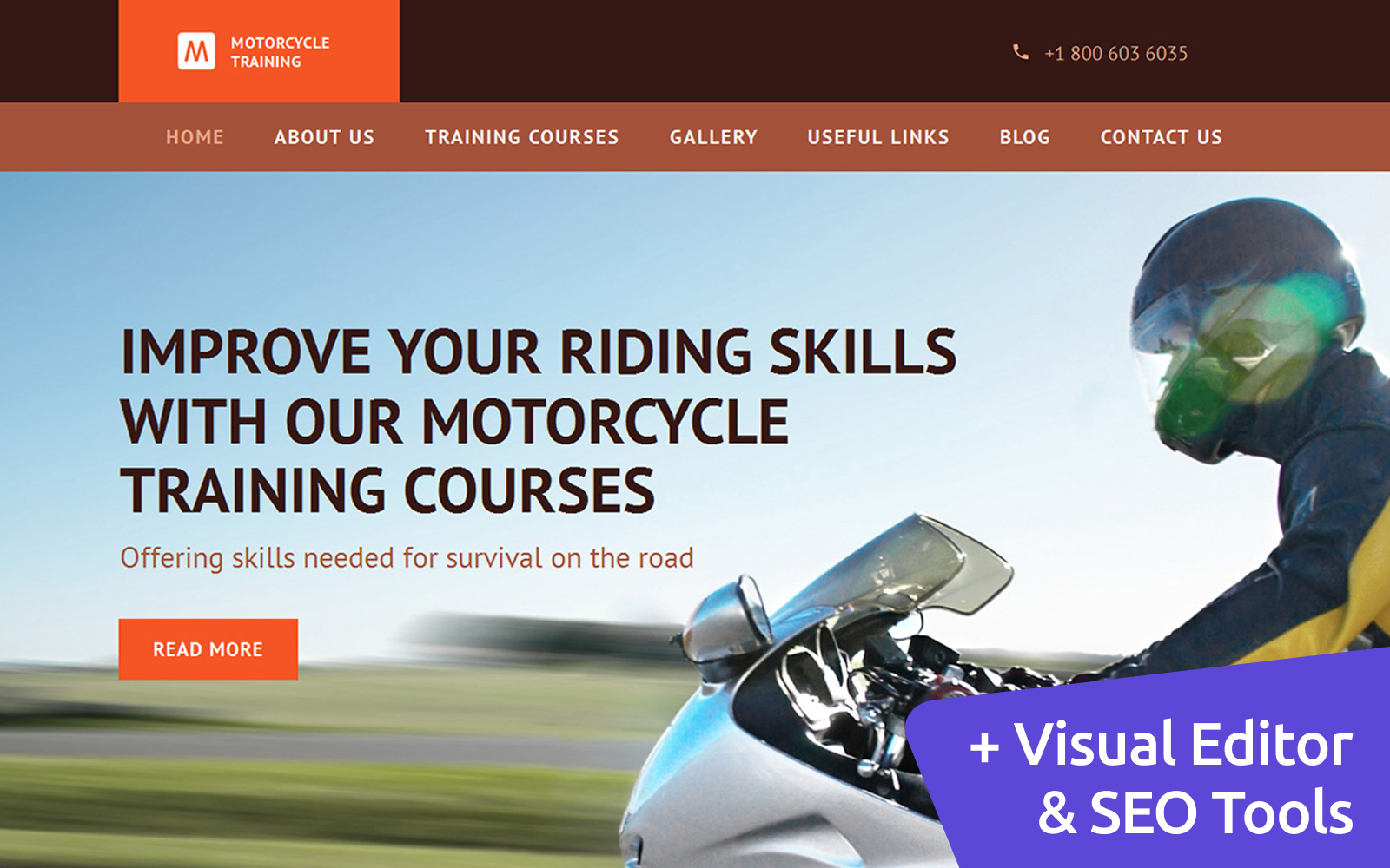 "Plantilla Moto CMS 3 ""Motorbike Training School"" #58613"