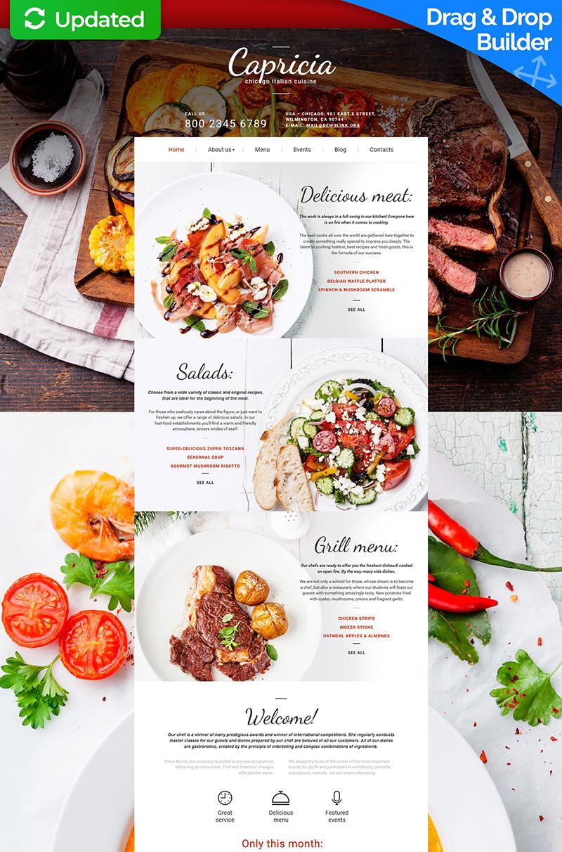 Plantilla Moto CMS 3 Responsive para Sitio de Restaurantes italianos #58610