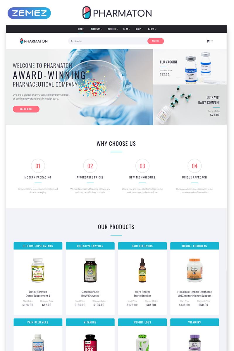"Plantilla Web ""Pharmaton - Drug Store Multipage Modern HTML Template"" #58600 - captura de pantalla"
