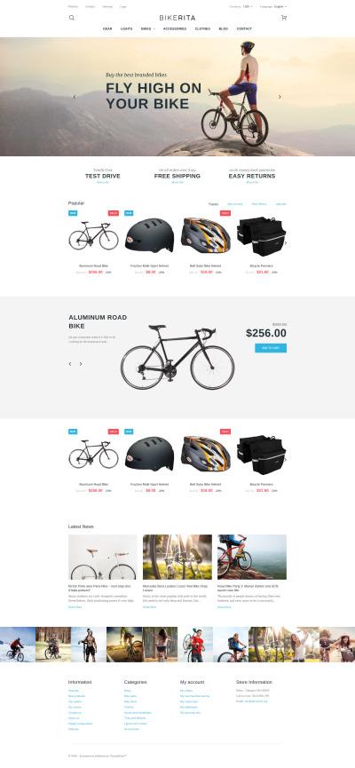 """PrestaShop шаблон """"Bikerita - адаптивный магазин велосипедов"""" #58647"""