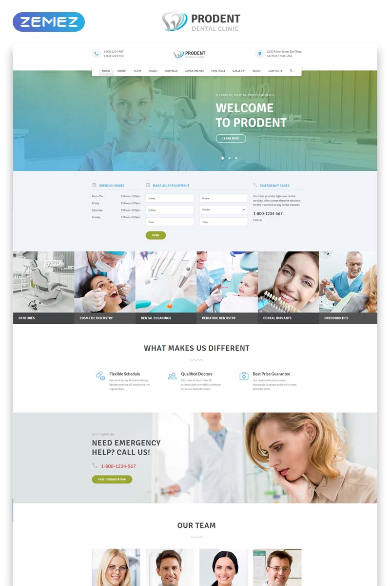 """""""Prodent - Dentistry Multipage Clean Bootstrap HTML"""" Responsive Website template №58646 - screenshot"""