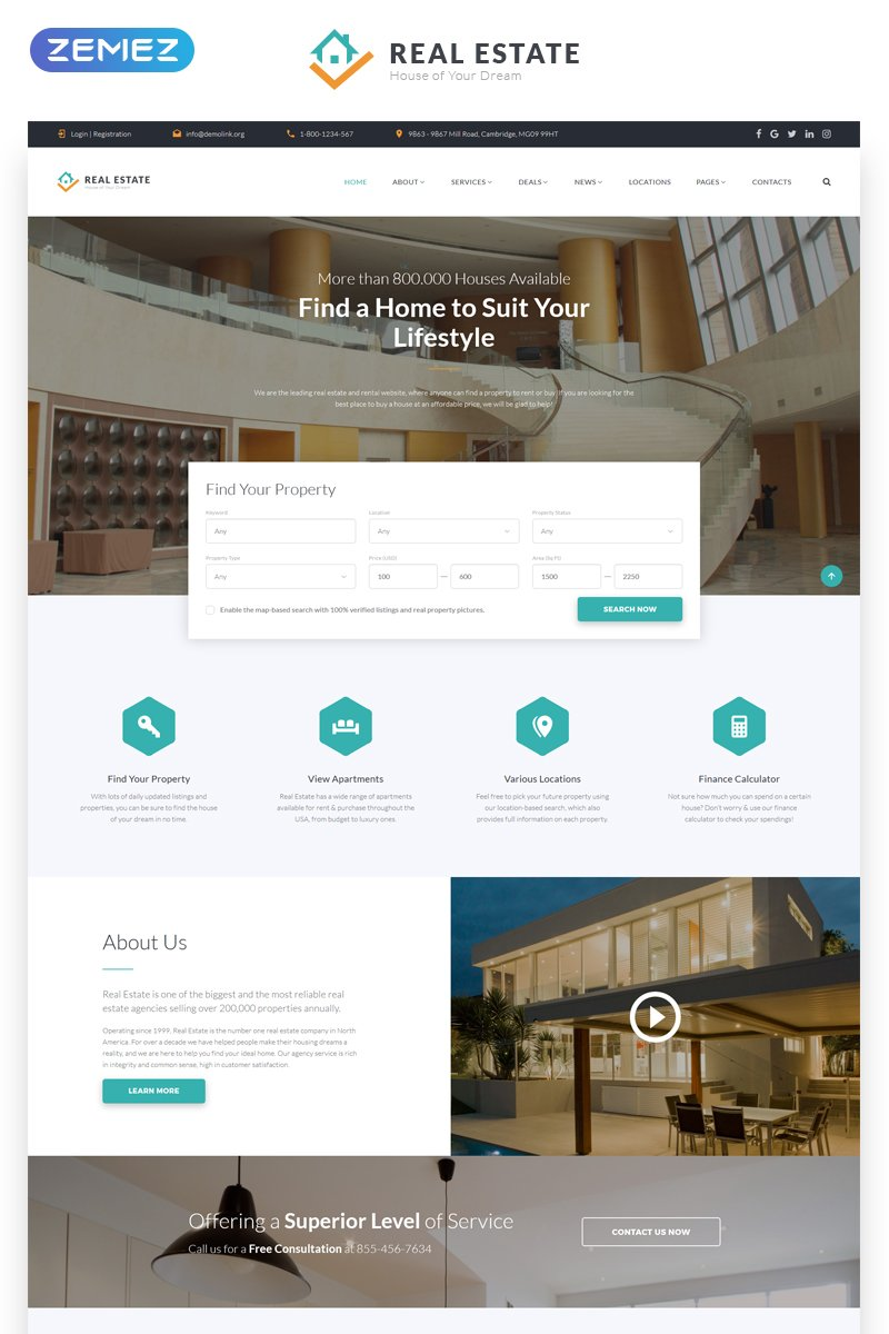 Responsive Real Estate - Efficient Housing & Accommodation Multipage HTML Web Sitesi #58633 - Ekran resmi