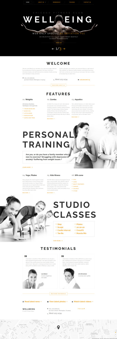 Fitness Responsive Web Sitesi Şablonu