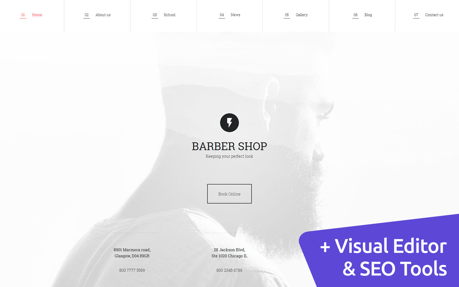 """Responzivní Moto CMS 3 šablona """"Barbershop"""" #58698"""
