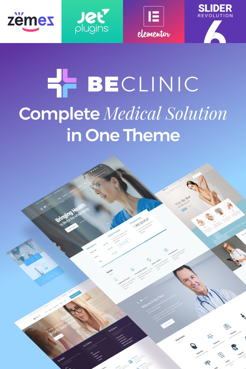 "Responzivní WordPress motiv ""BeClinic - Multipurpose Medical"" #58654"