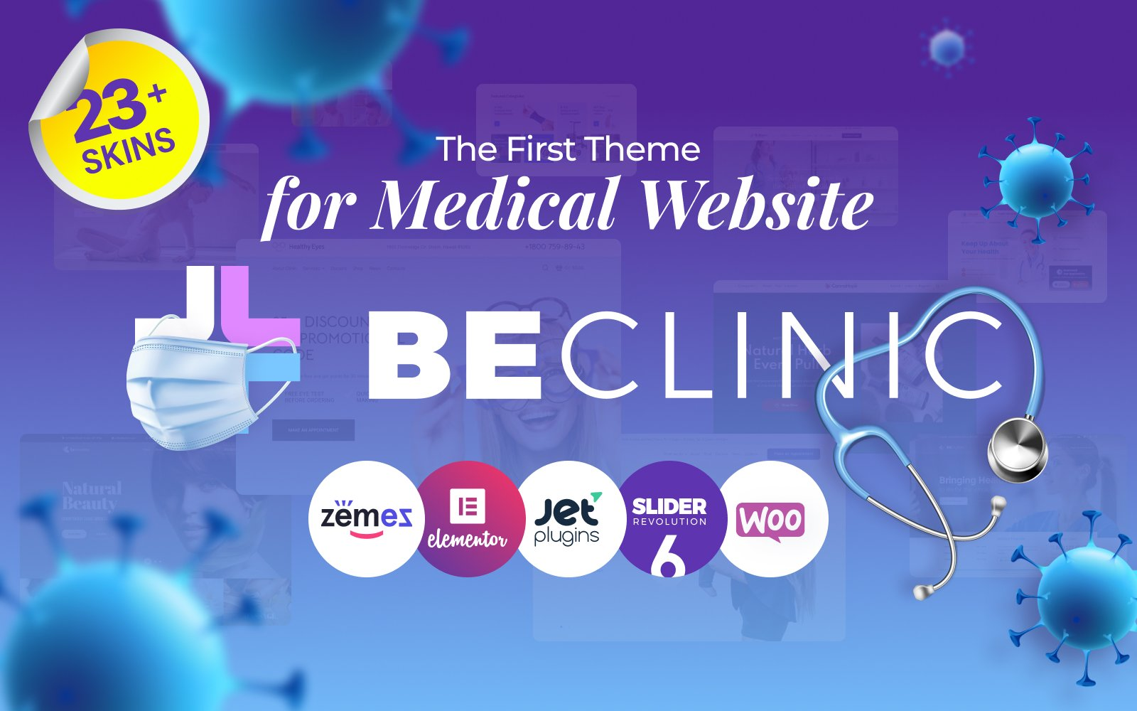 Reszponzív BeClinic - Multipurpose Medical Clean WordPress Theme WordPress sablon 58654