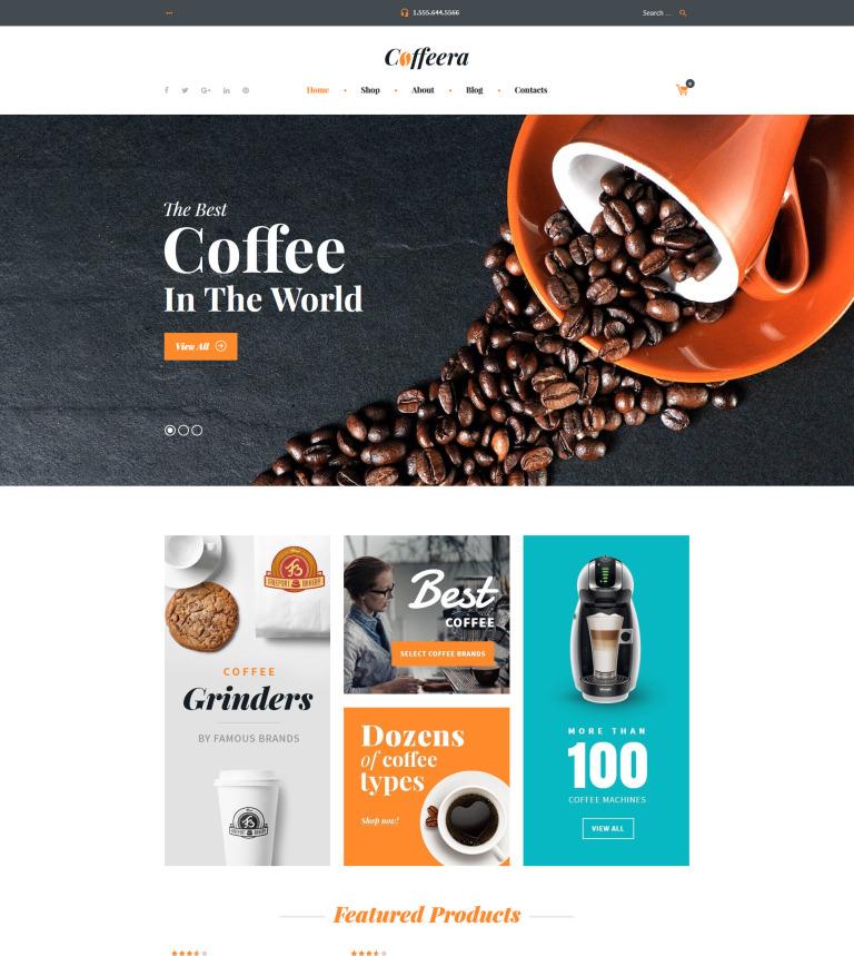 Tema WooCommerce #58649 para Sitio de Tienda de Café