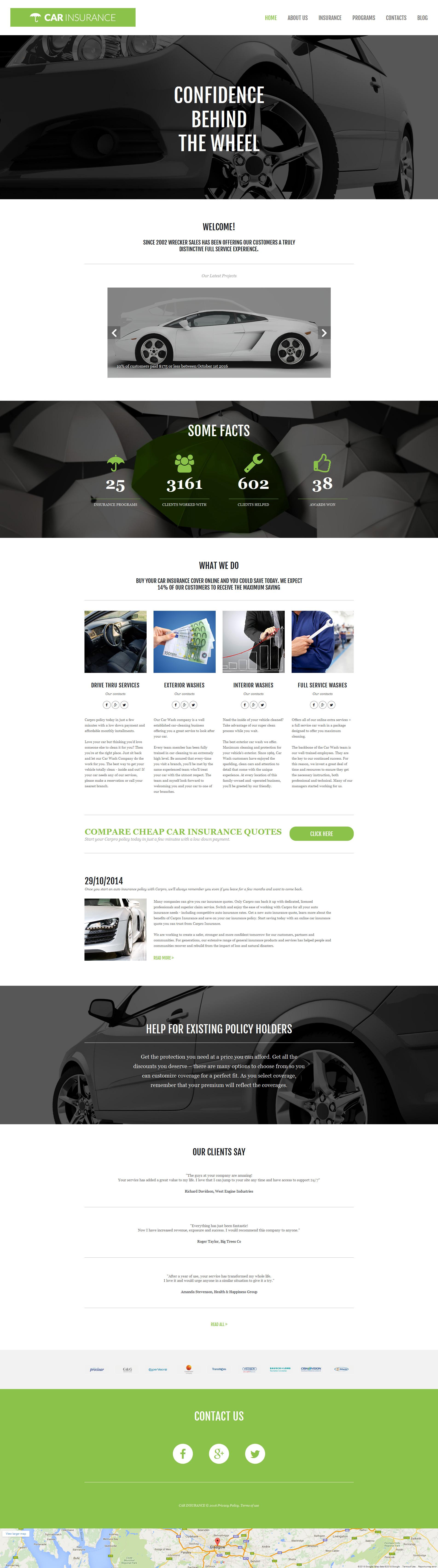 Template Moto CMS 3 Responsive #58681 per Un Sito di Assicurazione Auto