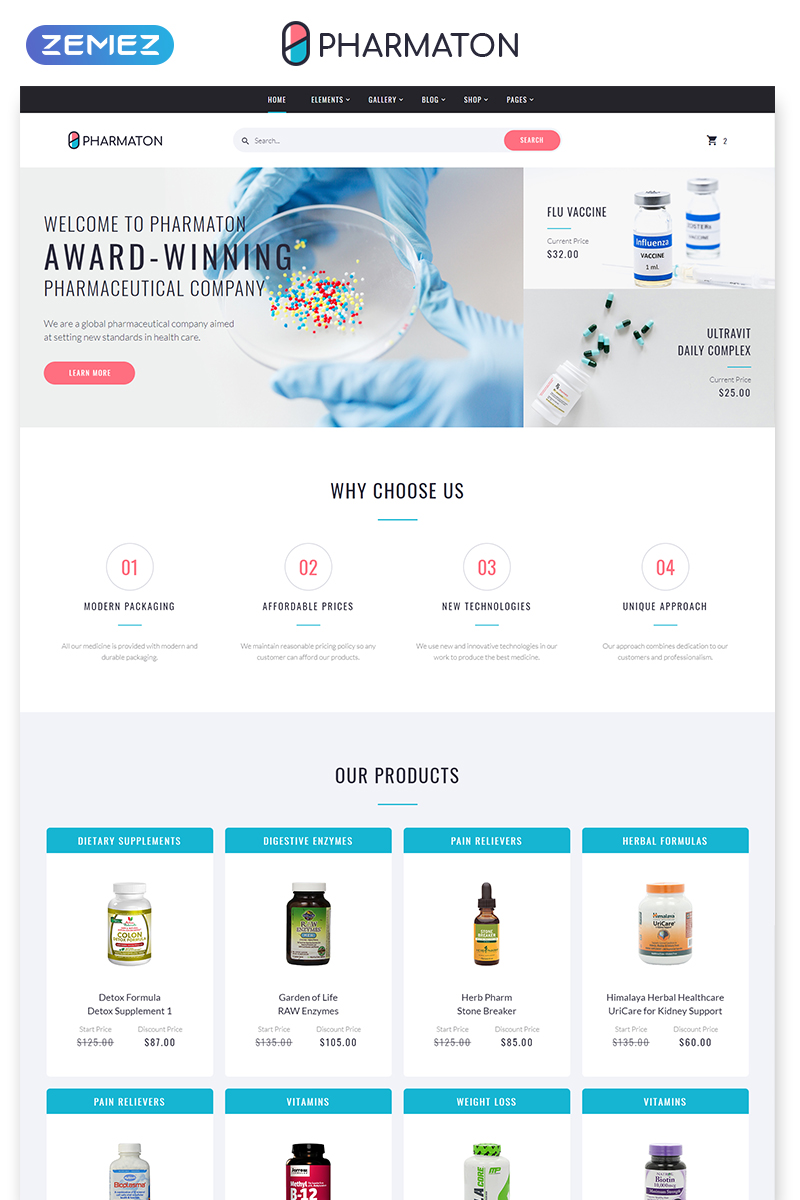 "Template Siti Web Responsive #58600 ""Pharmaton - Drug Store Multipage Modern HTML Template"""