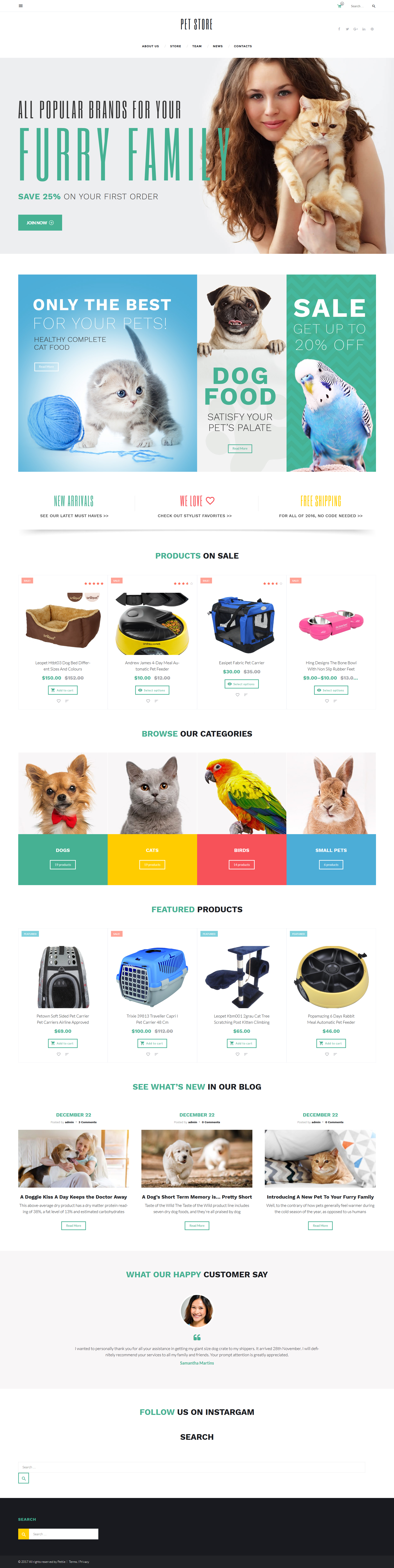 "Template WooCommerce Responsive #58660 ""PetStore - Pets Supplies Shop Responsive WooCommerce Theme"" - screenshot"