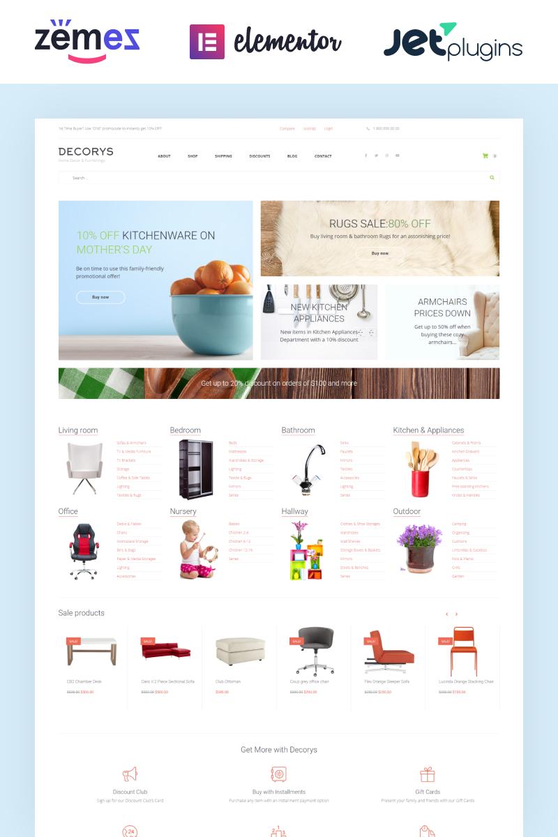 "Template WooCommerce Responsive #58663 ""Decorys - Light Homemarket"""