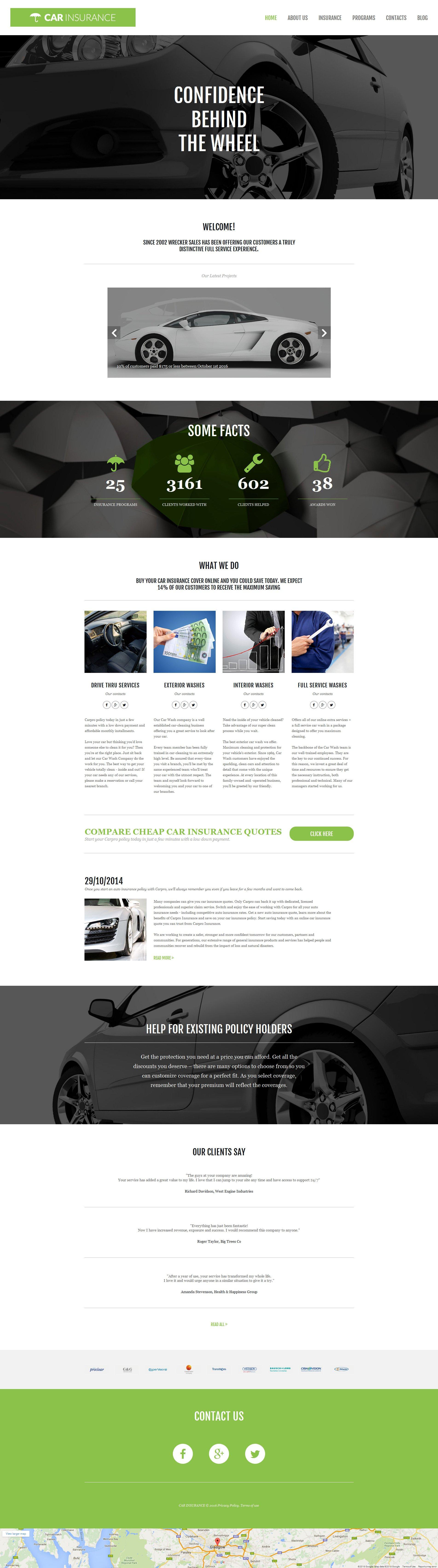 Templates Moto CMS 3 Flexível para Sites de Seguro de Carros №58681