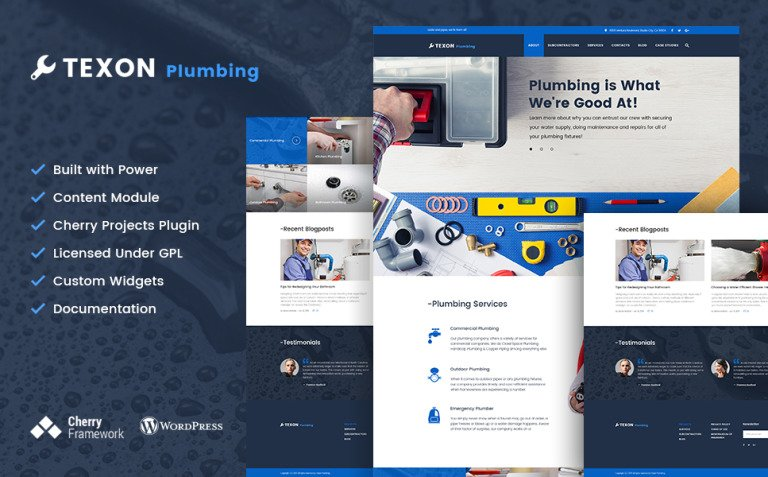 Texon Plumbing - Maintenance Services & Plumbing WordPress Theme New Screenshots BIG