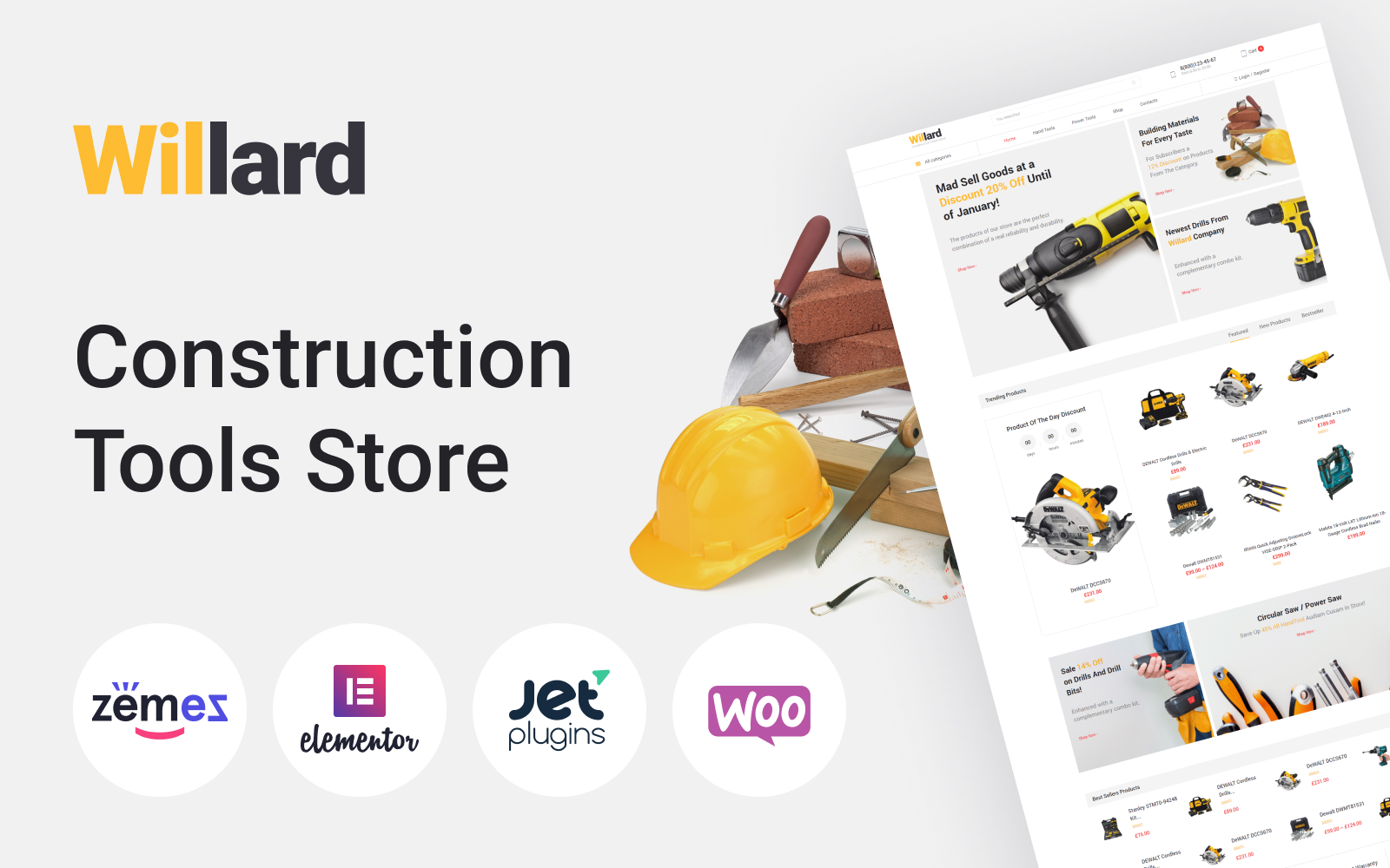 """Willard - Construction Tools Store Multipurpose ECommerce Clean Elementor"" Responsive WooCommerce Thema №58679"