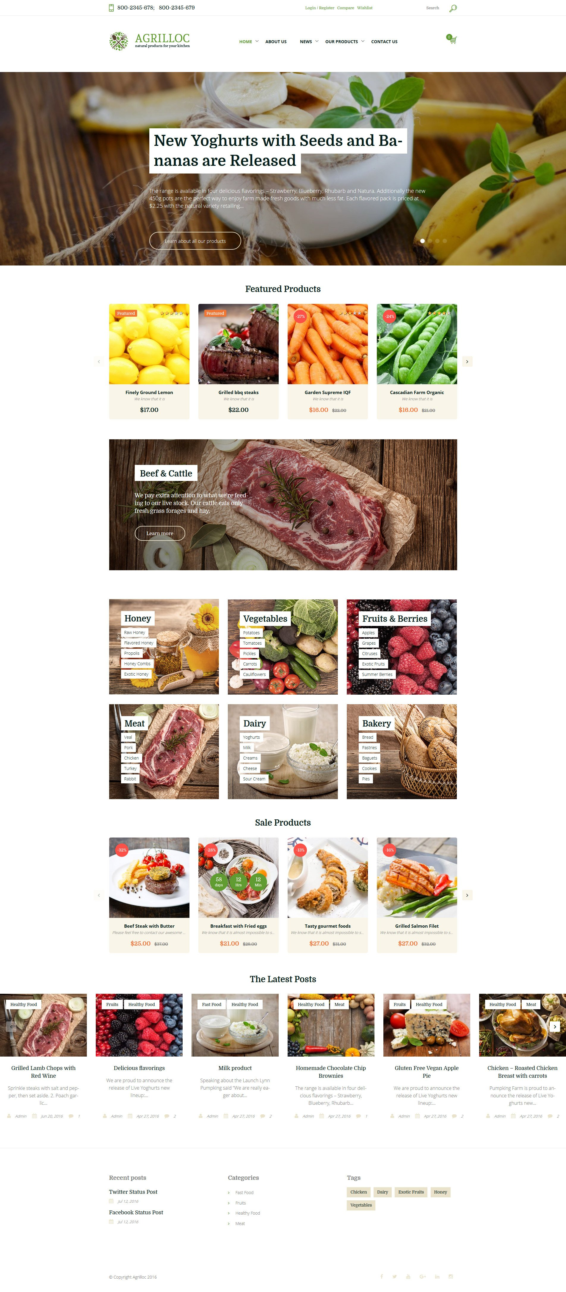 """WooCommerce Theme namens """"Agrilloc - Agricultural Supply & Farm Foods"""" #58670"""