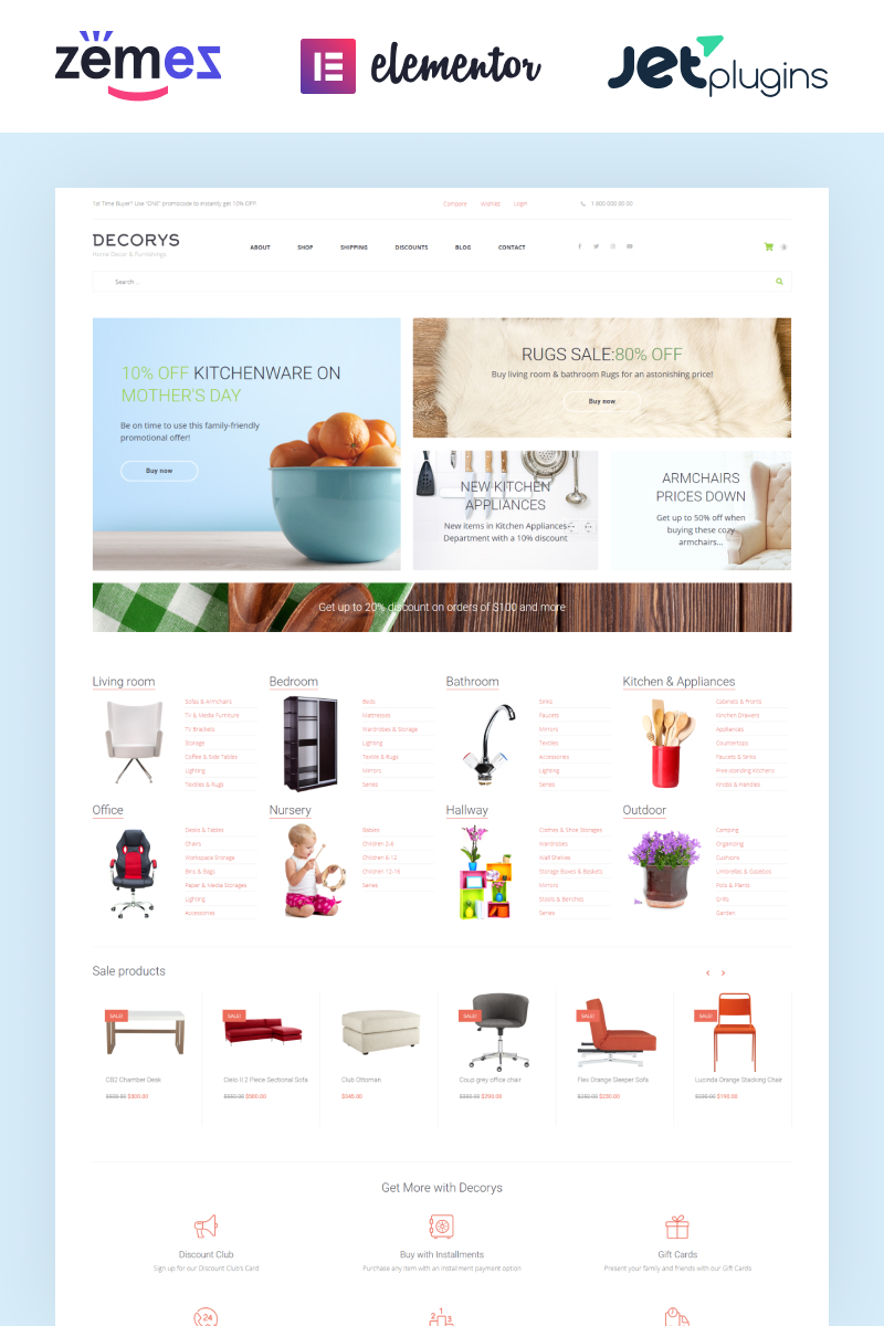 "WooCommerce Theme namens ""Decorys - Light Homemarket"" #58663 - Screenshot"