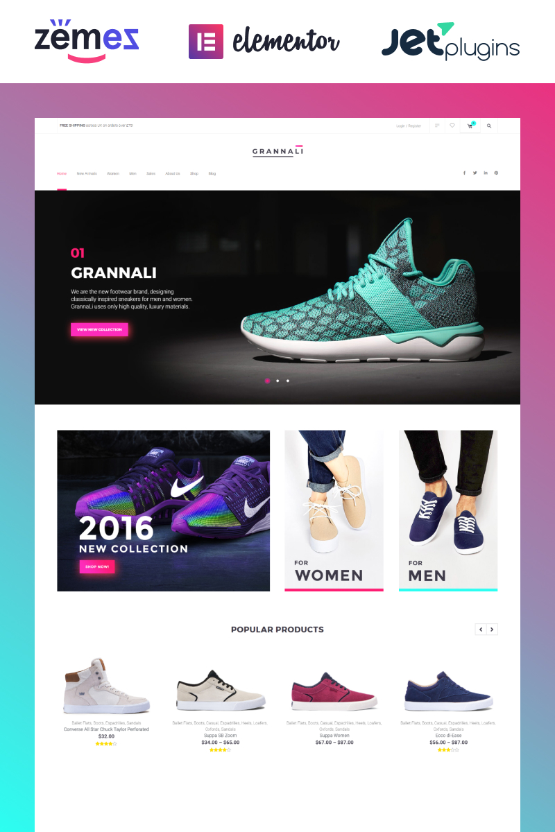 "WooCommerce Theme namens ""GrannaLi - Clothes & Footwear"" #58662 - Screenshot"