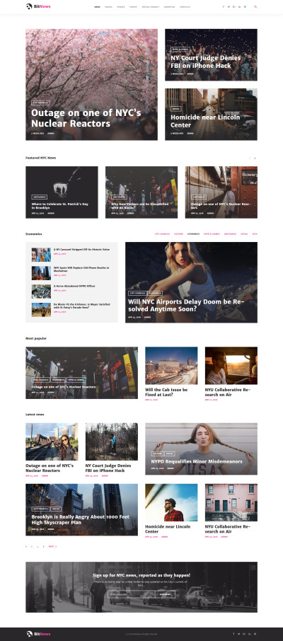 "WordPress шаблон ""BitNews - Blog Magazine & News Portal"" #58664"