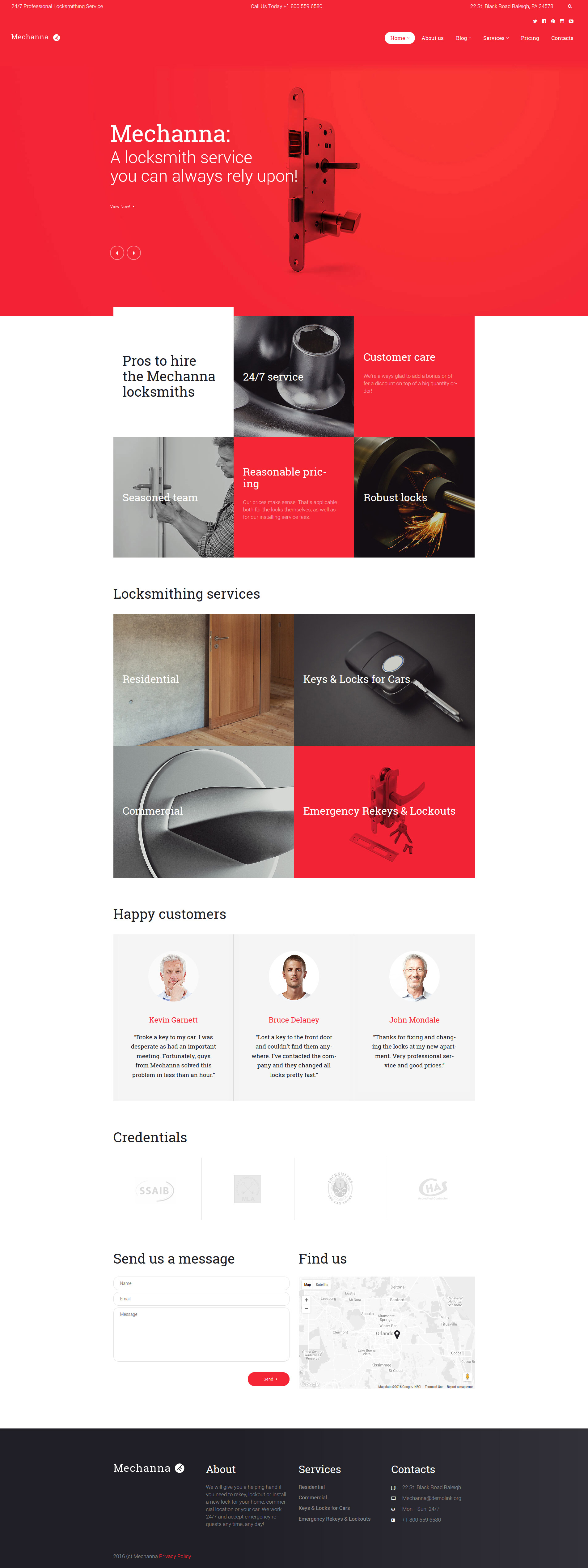 "WordPress Theme namens ""Mechanna - Locksmith"" #58678 - Screenshot"