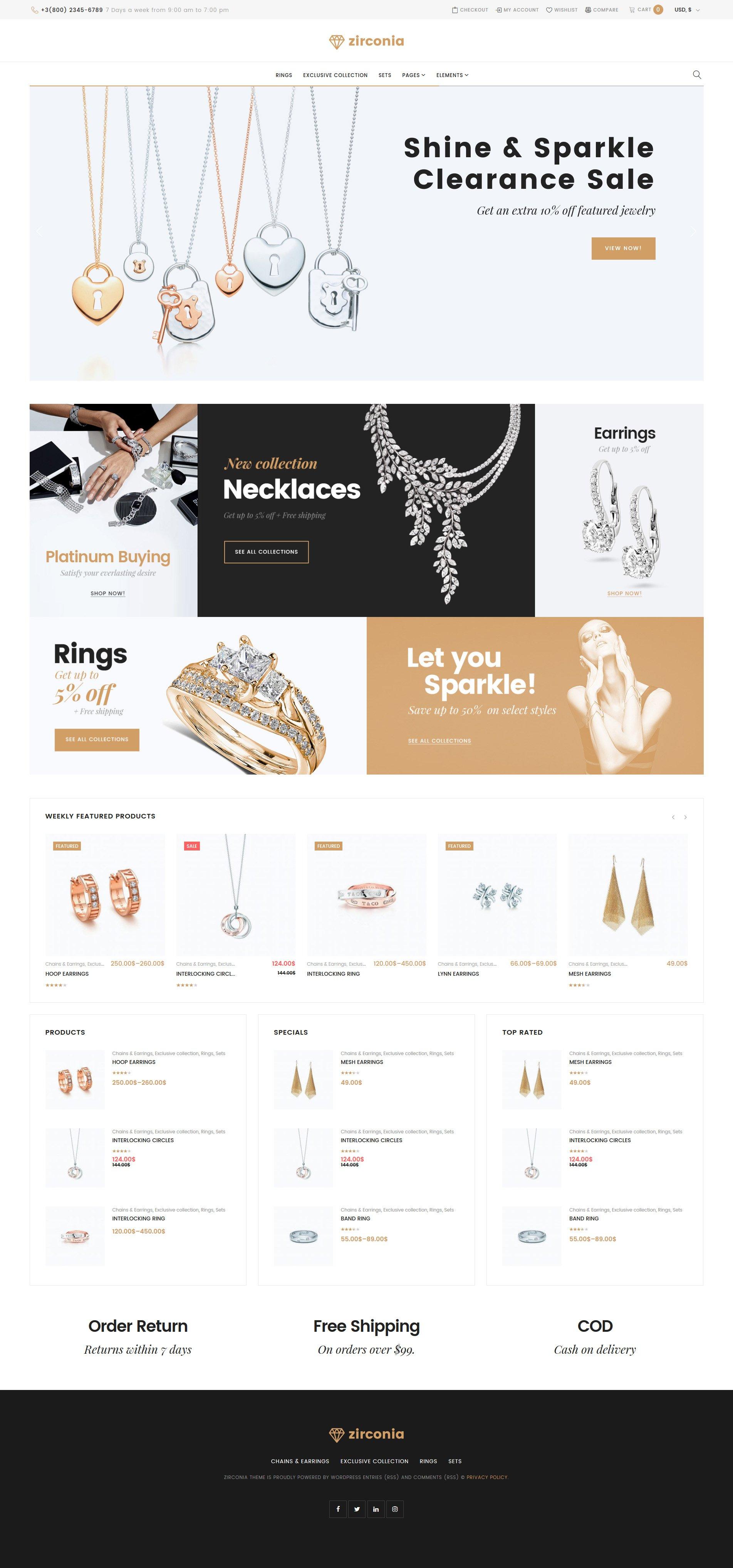 """Zirconia - Jewelry & Accessories Store Responsive"" 响应式WooCommerce模板 #58661 - 截图"