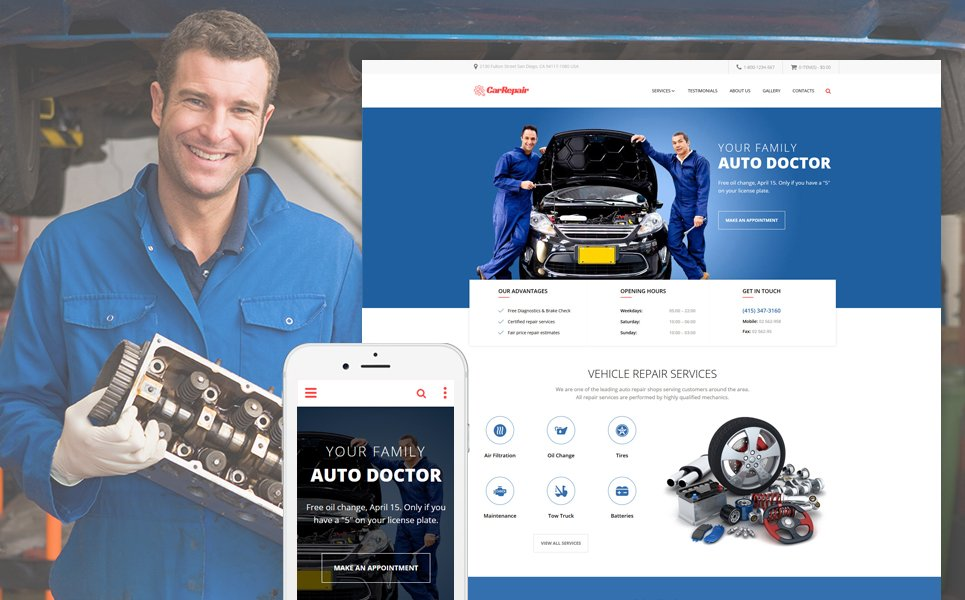 Car Repair - Car Repair Service Responsive template illustration image