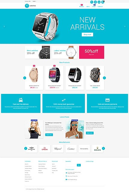 Watches magento themes for Magento homepage template