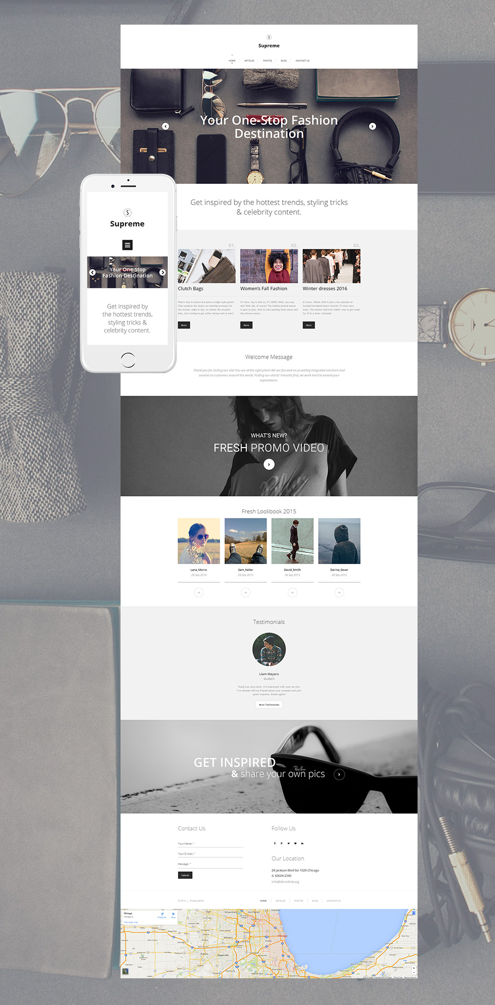 Site theme for clothing designers