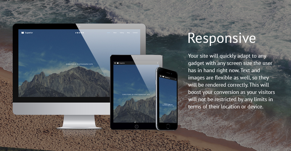 Superior Photographer Responsive Website Template with Bootstrap, Slider,Gallery and Blog,Video