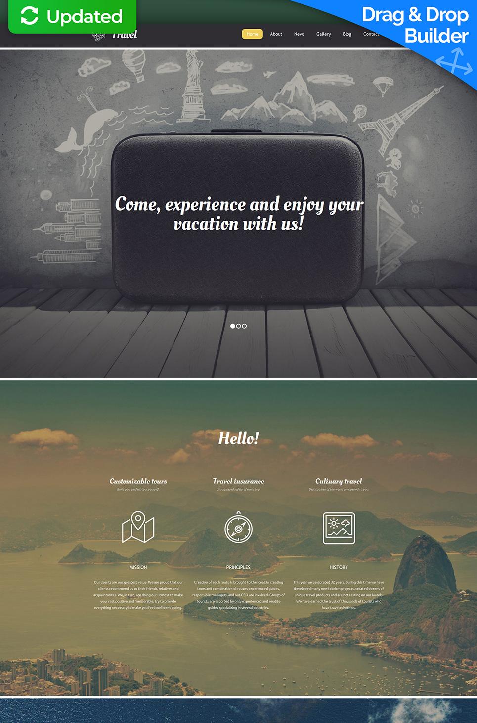 Traveling website with sticky menu