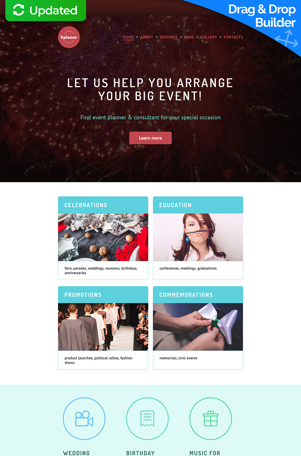 Responsive web theme for party arrangement