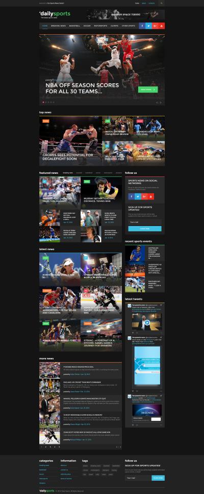 Адаптивный HTML шаблон №58737 на тему спортивные новости #58737