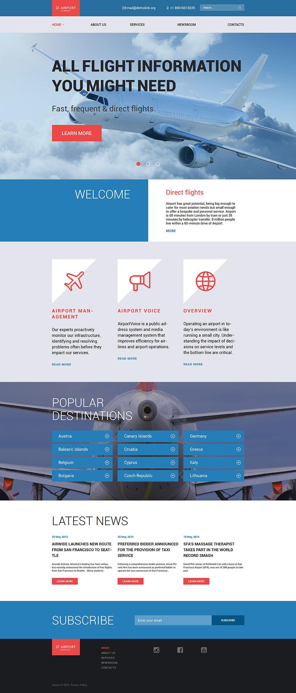Адаптивный шаблон сайта на тему частные авиалинии #58778