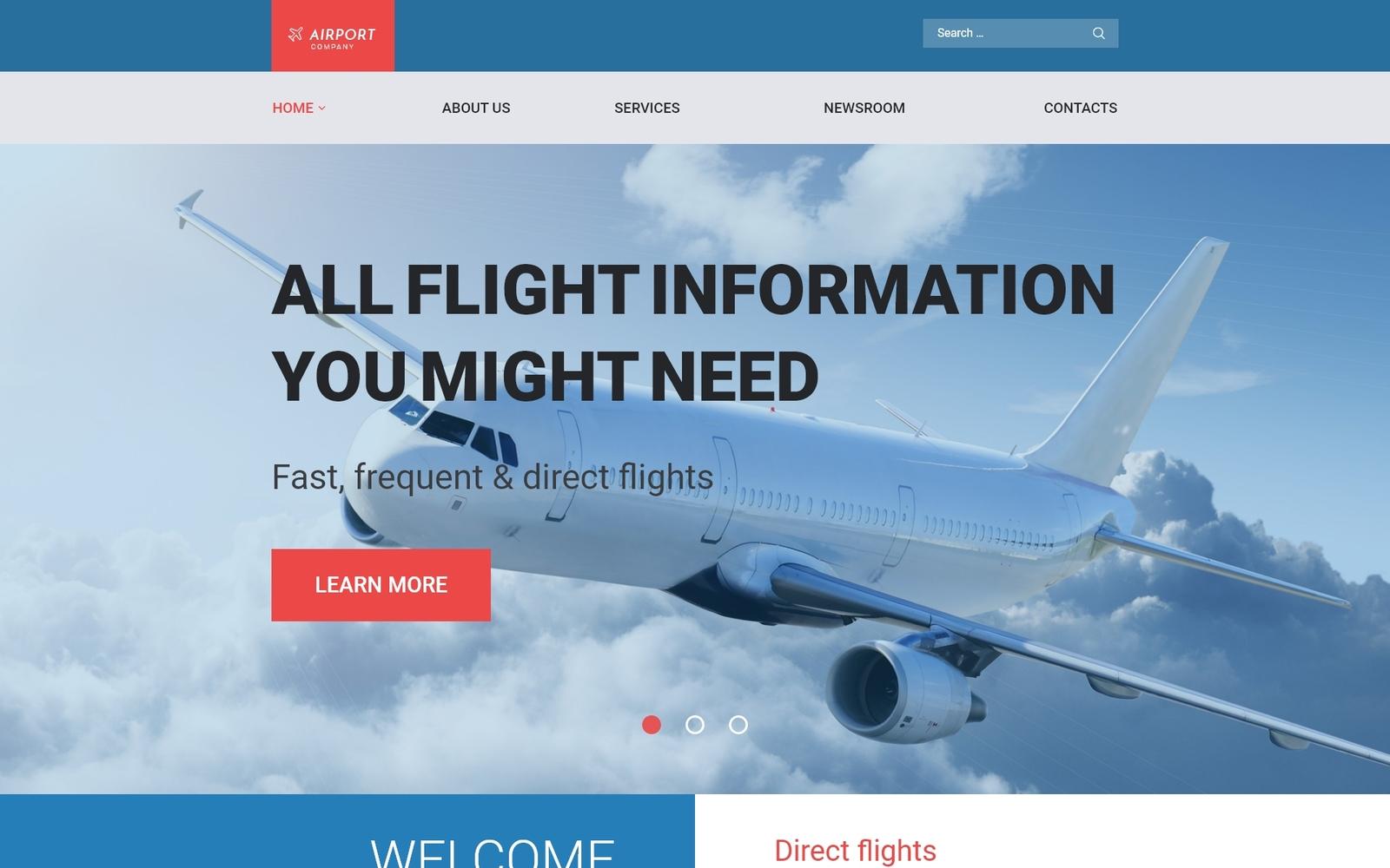 """Airfares"" 响应式WordPress模板 #58778"