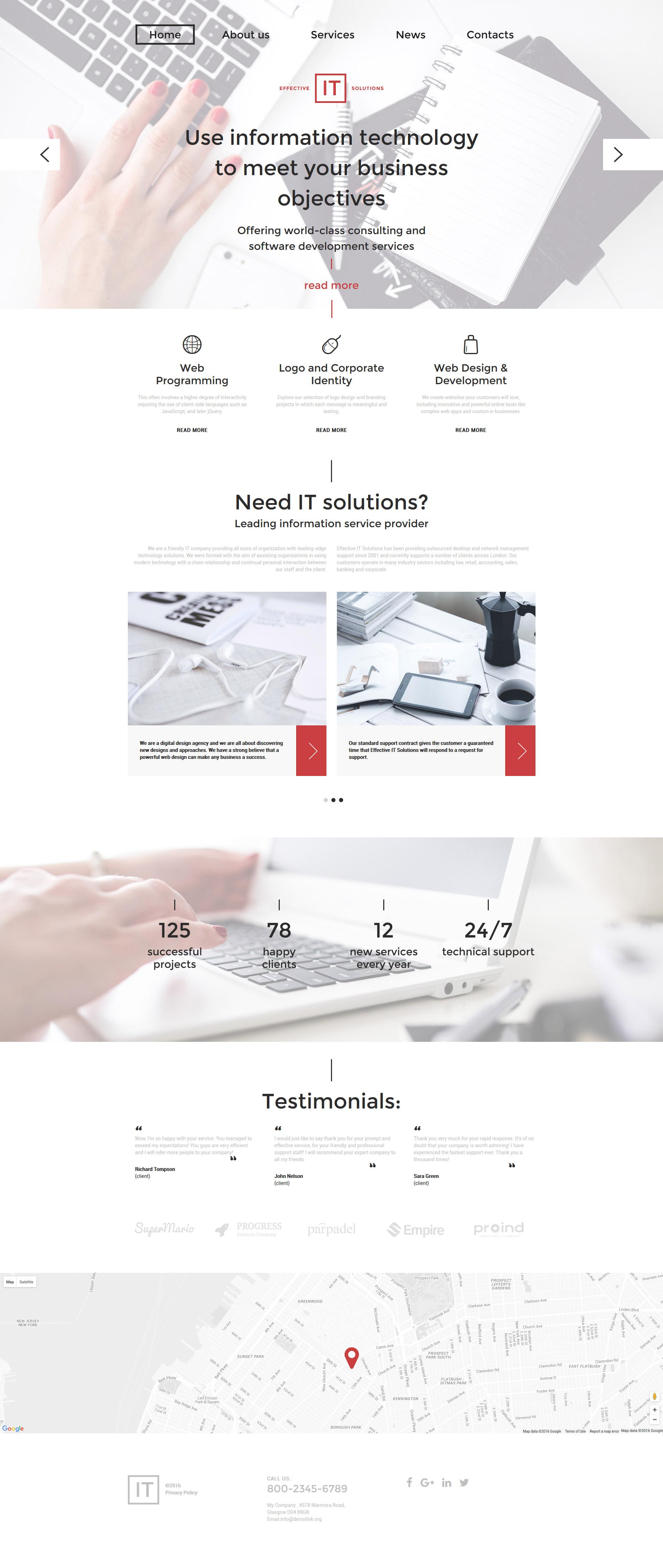 """Effective IT Solutions"" - адаптивний Шаблон сайту №58732"