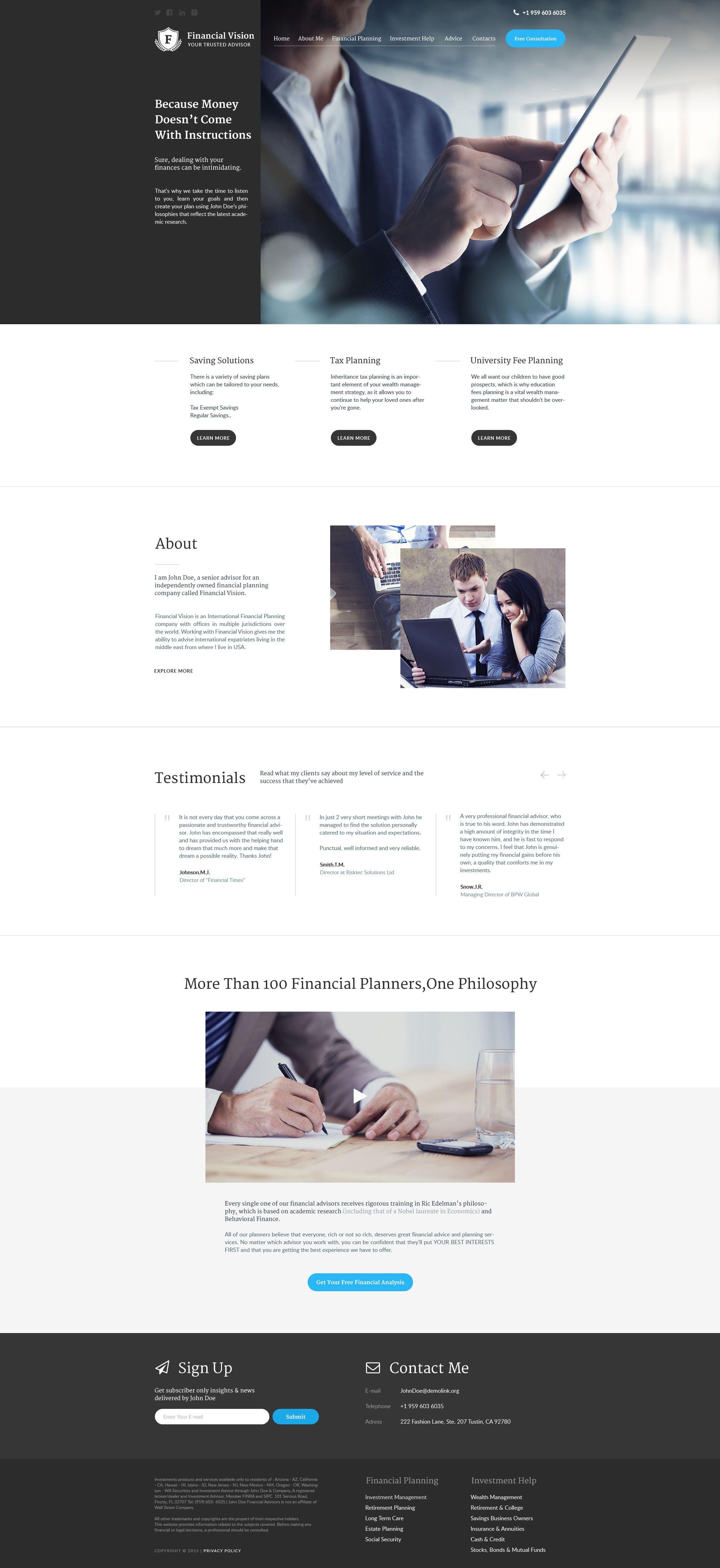 Financial Advisor Website Templates