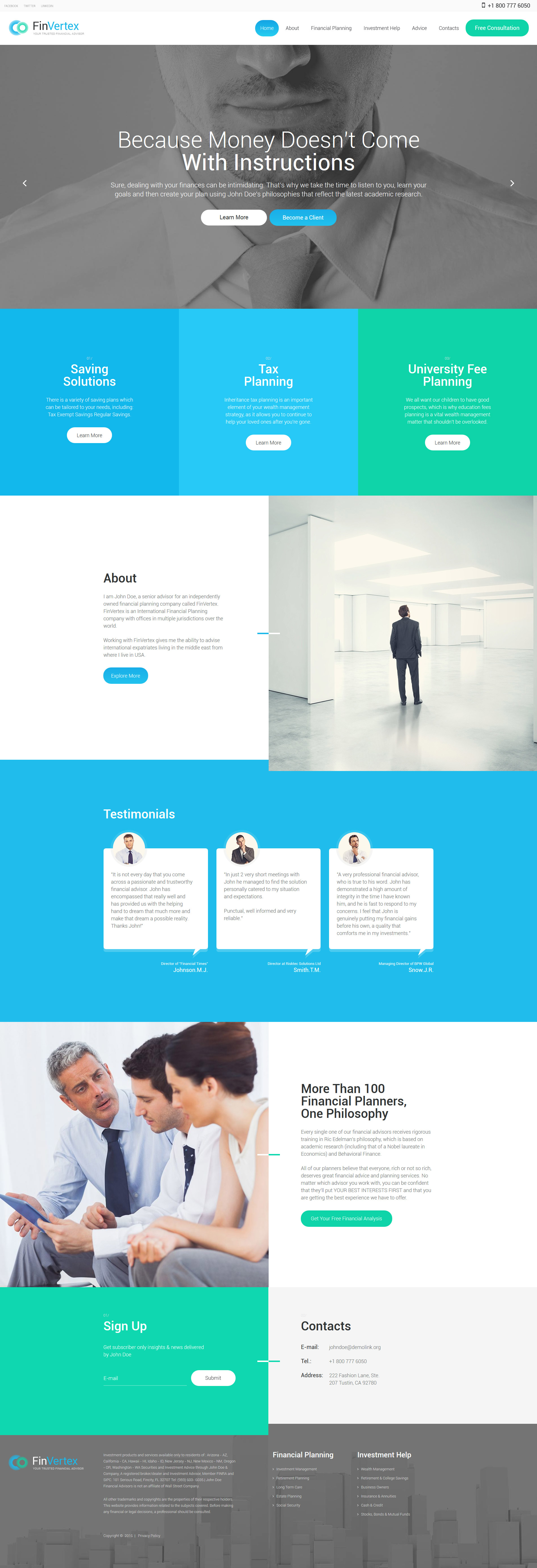 financial planner site template