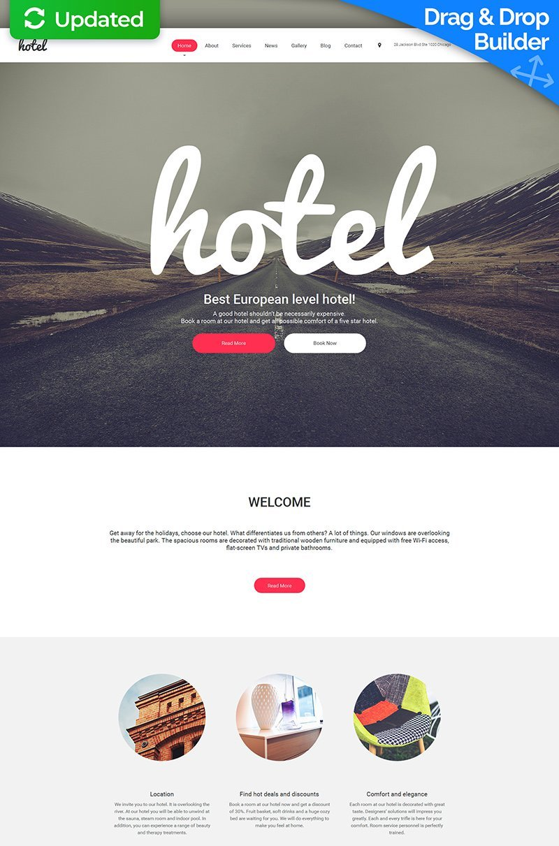 """Hotel - Hospitality"" 响应式Moto CMS 3 模板 #58765"