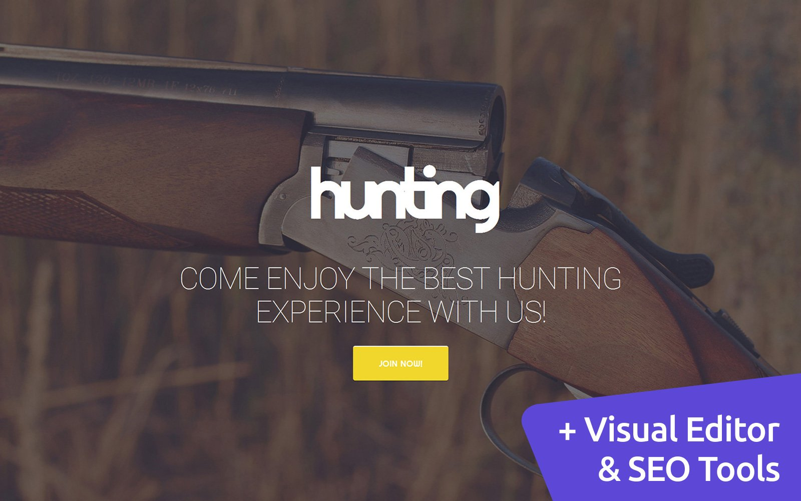 """Hunting"" Responsive Moto CMS 3 Template №58791"