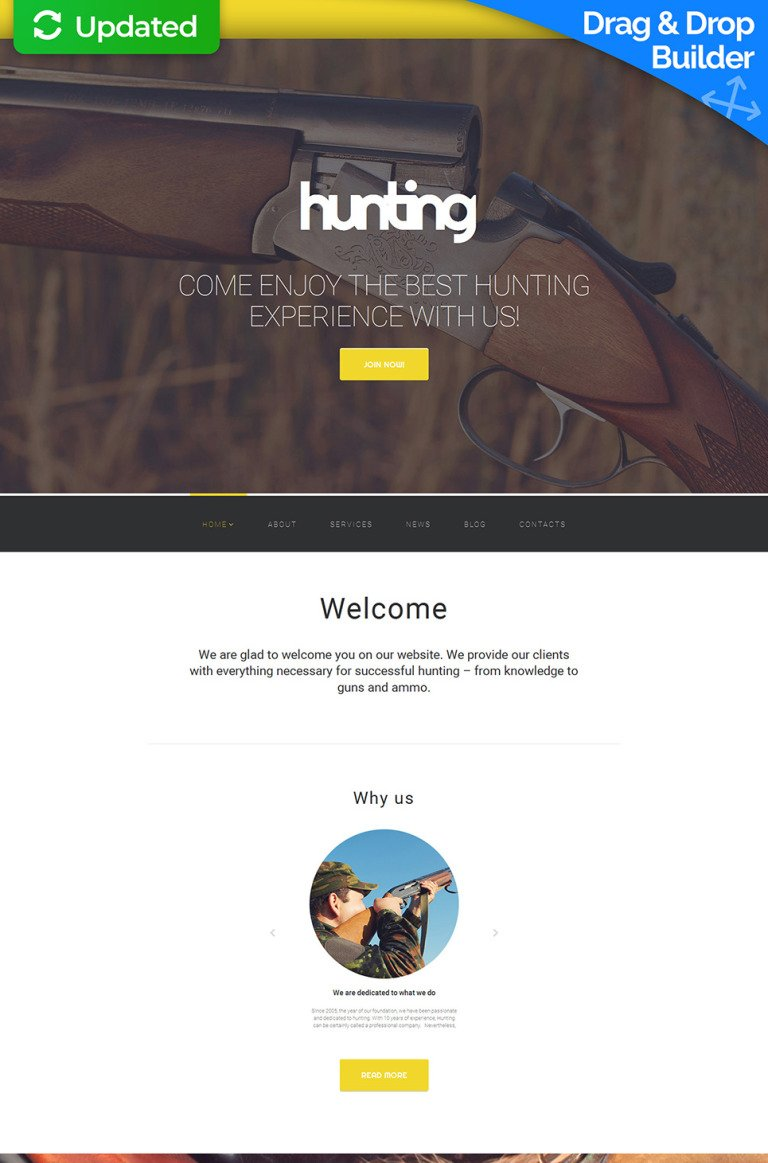 Hunting Responsive Moto CMS 3 Template New Screenshots BIG