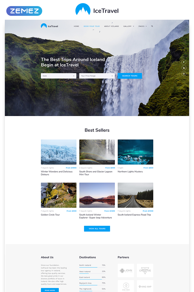 Ice Travel - Travel Agency Multipage Classic HTML5 Template Web №58702