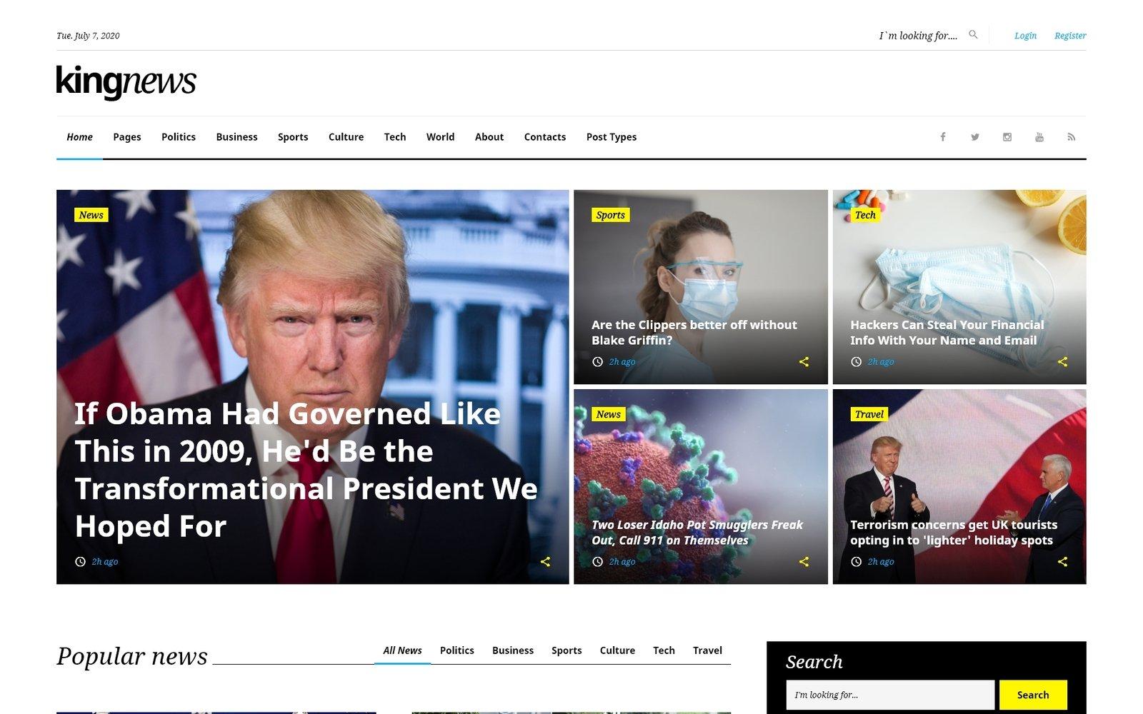 """""""King News"""" - адаптивний Шаблон сайту №58731"""
