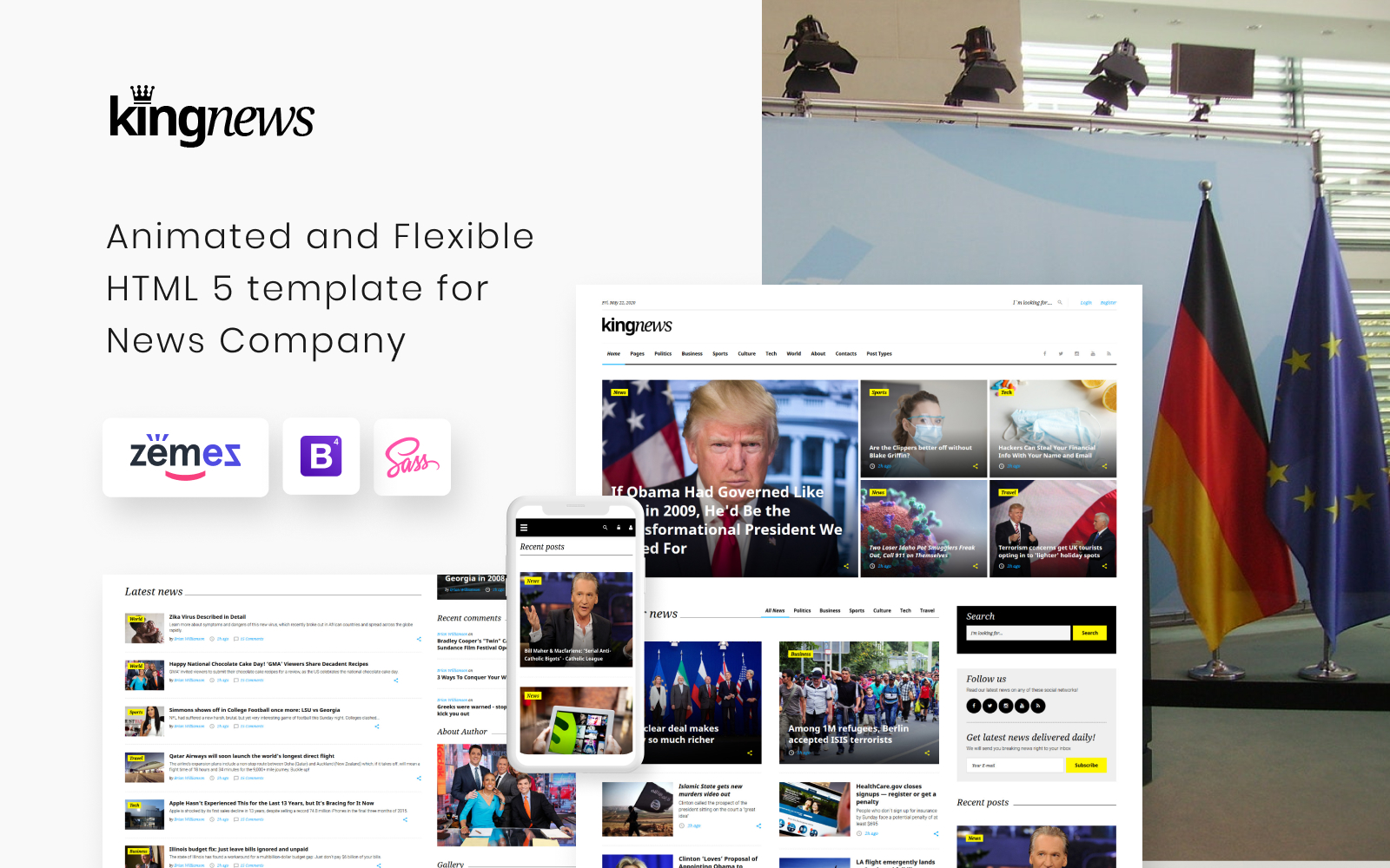 """KingNews - News Portal Responsive"" 响应式网页模板 #58731"