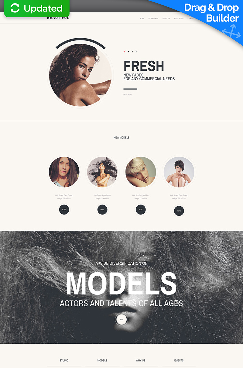 Model Agency Responsive Moto CMS 3 Template - screenshot