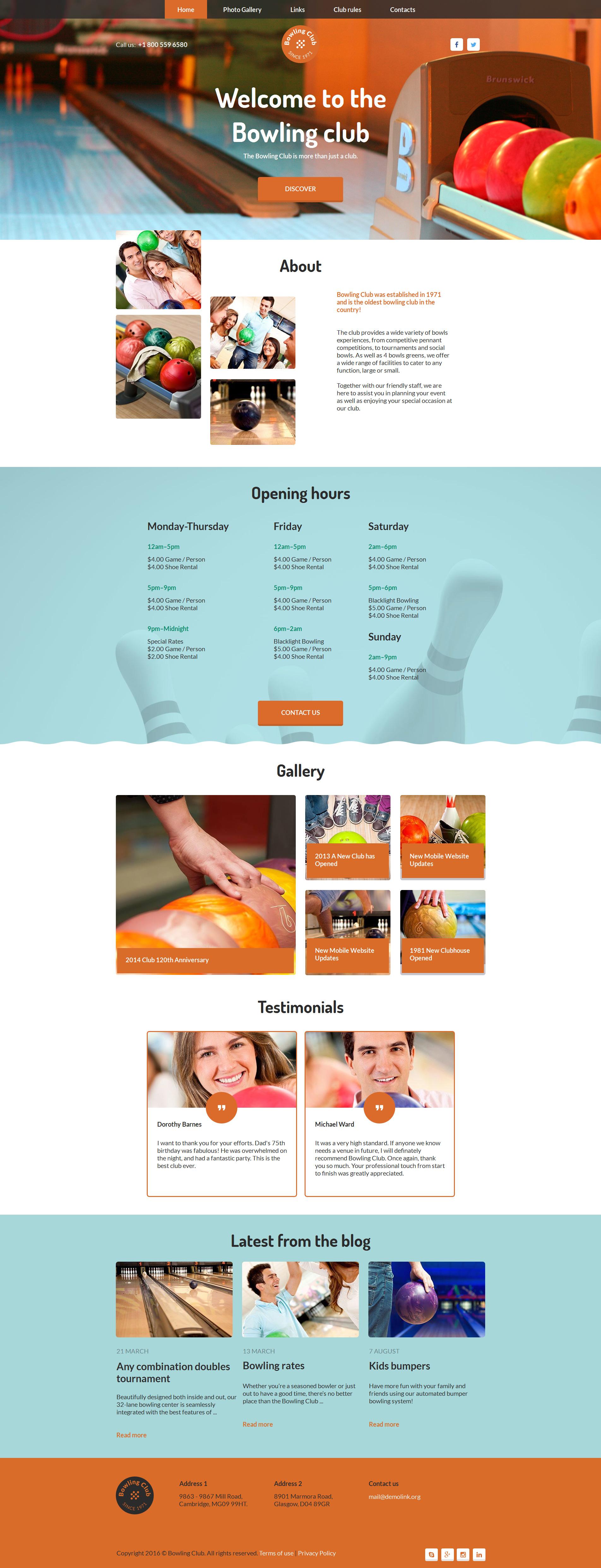 Modèle Moto CMS HTML Premium pour site de bowling #58750