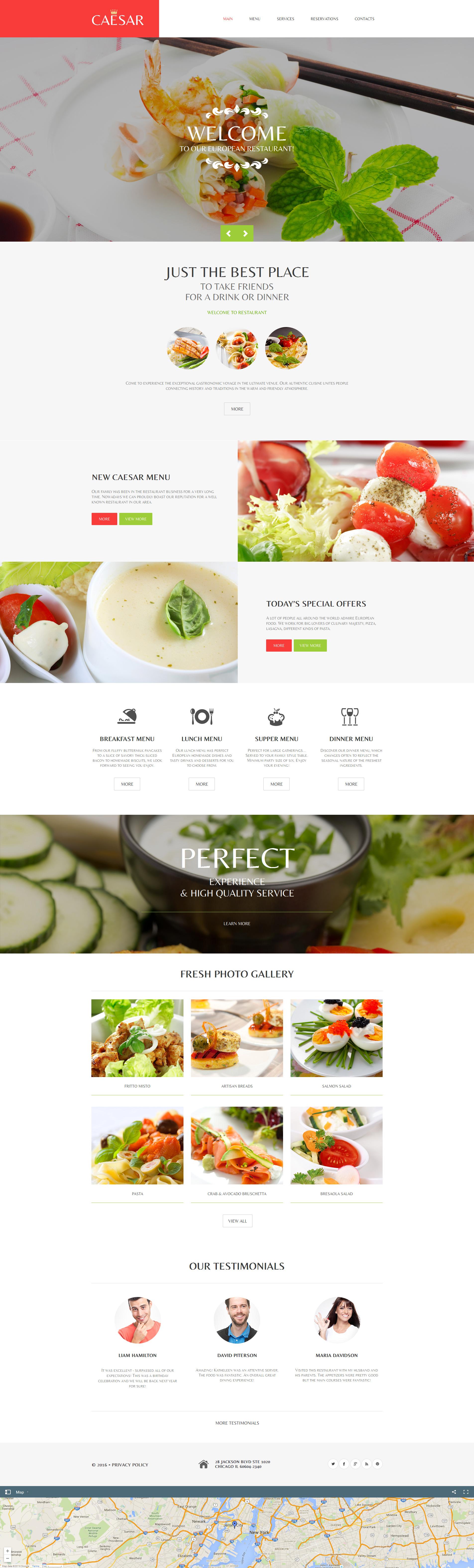 Prémium Kávézó és étterem Moto CMS HTML sablon 58751