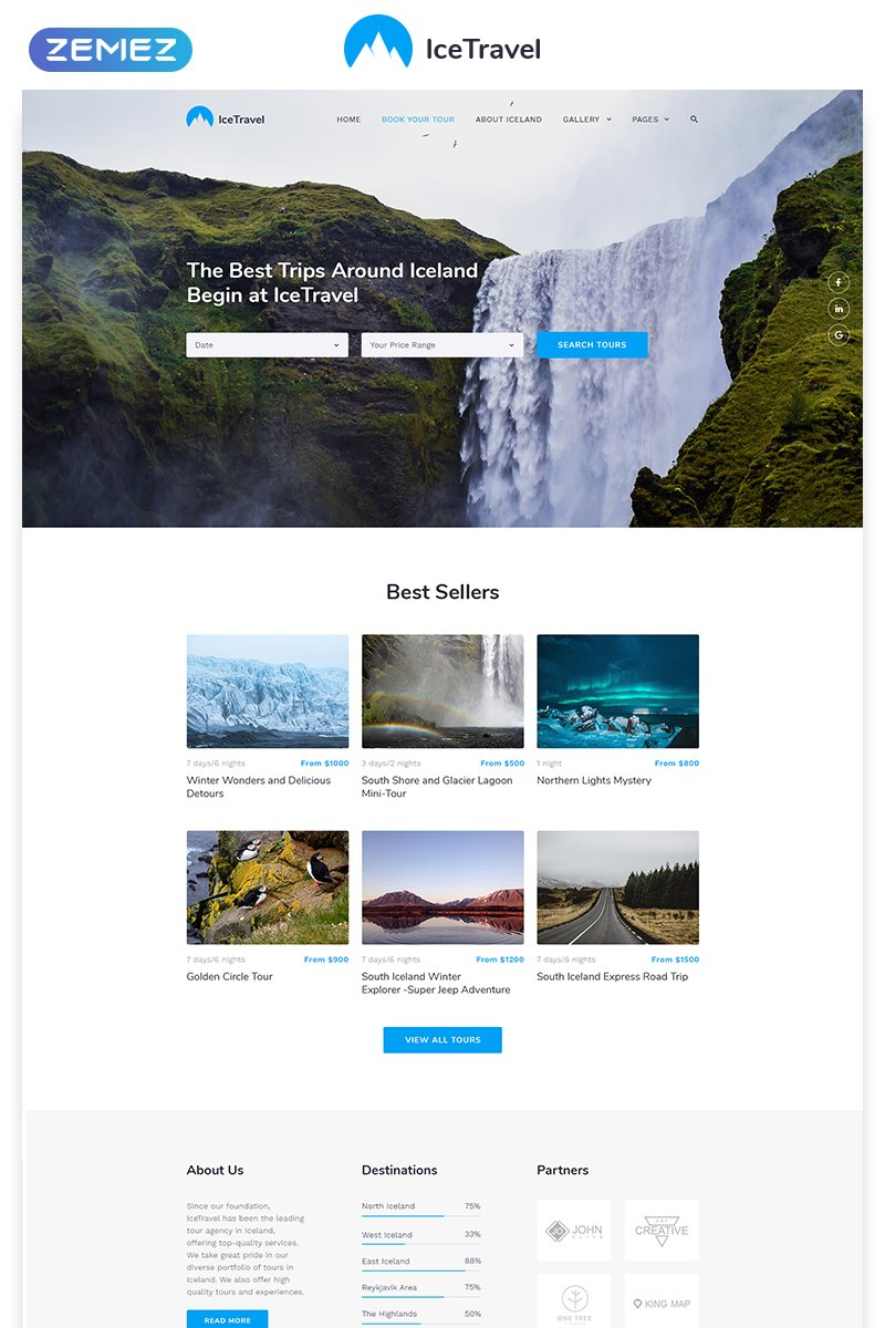 Responsive Ice Travel - Travel Agency Multipage Classic HTML5 Web Sitesi #58702